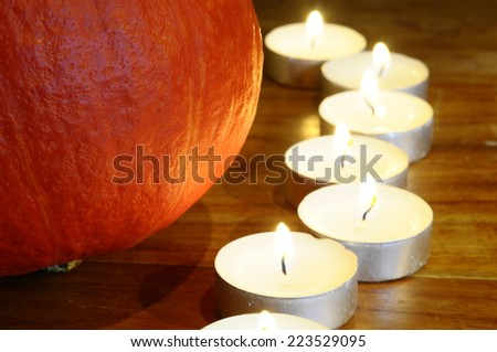 Halloween pumpkin and candles light