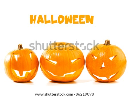 Halloween pumpkin border isolated on white background, traditional spooky jack-o-lantern, american autumn holiday - stock photo