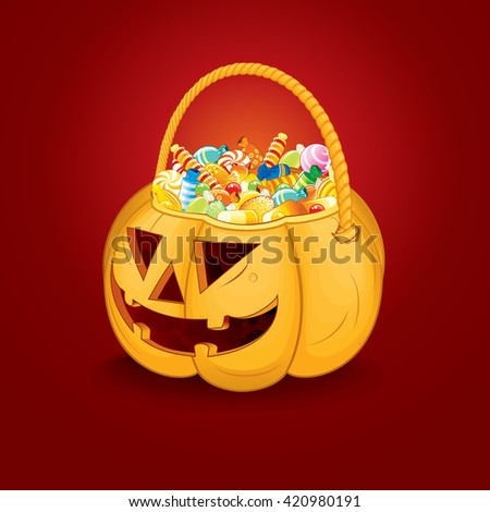 Halloween Pumpkin Bucket with Candy and Sweets. Vector Ready for Your Text and Design. - stock photo