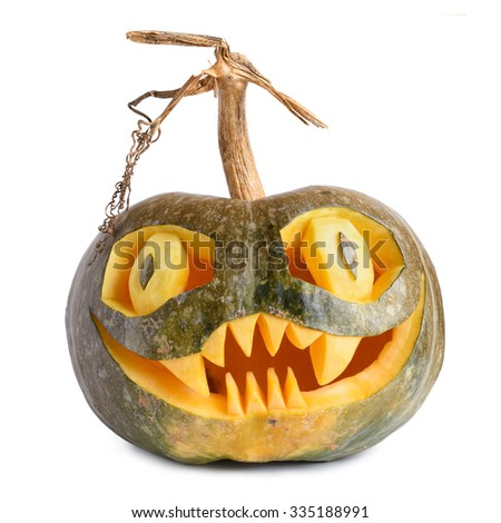 Halloween pumpkin carved isolated on white background - stock photo