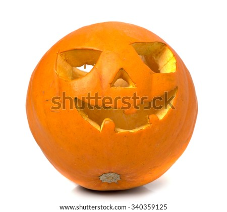 Halloween pumpkin closeup isolated on white background - stock photo
