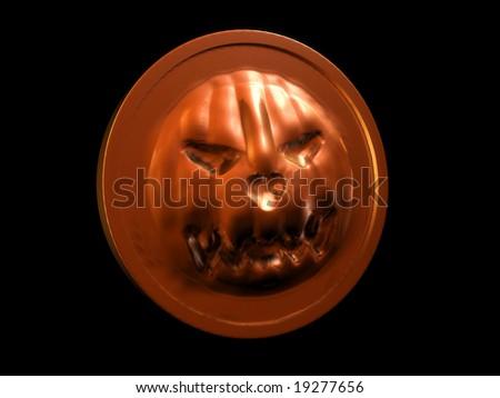 Halloween pumpkin coin - stock photo