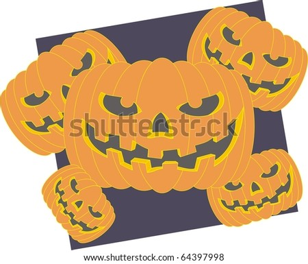 Halloween pumpkin color raster illustration