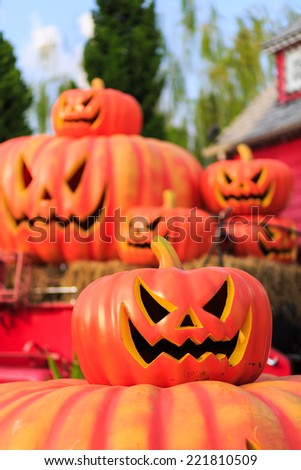 halloween pumpkin decorated of home to celebrate Thanksgiving - stock photo