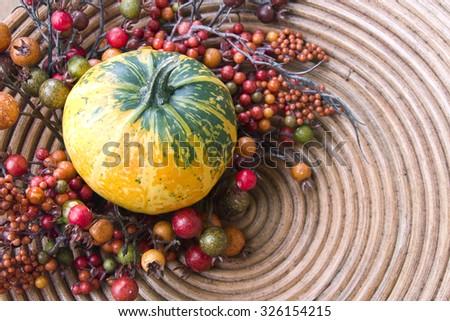 Halloween pumpkin, decorative composition - stock photo