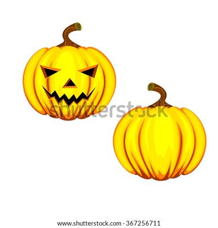 Halloween pumpkin. Halloween pumpkin with scary face on white - stock photo