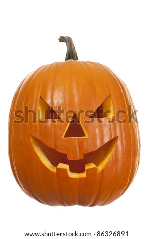 Halloween pumpkin in front on white background