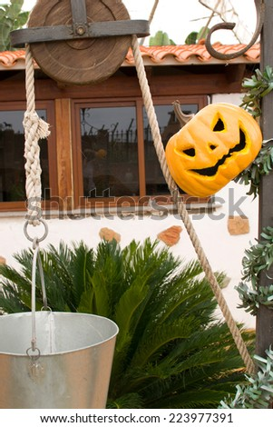 Halloween pumpkin in the well - stock photo