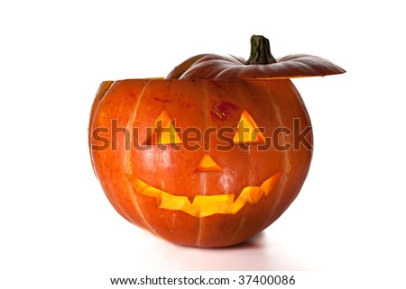 Halloween Pumpkin, inside lit by candle, creepy looking, white background