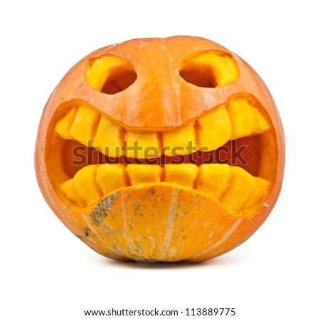 Halloween pumpkin isolated on a white background - stock photo