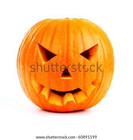 Halloween pumpkin isolated on white - stock photo