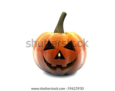 halloween pumpkin isolated on white background - stock photo