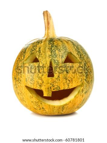 halloween pumpkin isolated on white background - stock photo