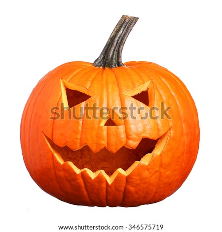 Halloween Pumpkin isolated on white. Scary Jack O'Lantern face