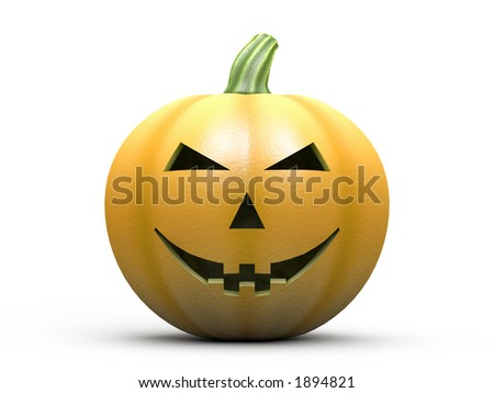 Halloween pumpkin isolated on white with clipping path. Photorealistic 3D rendering. - stock photo