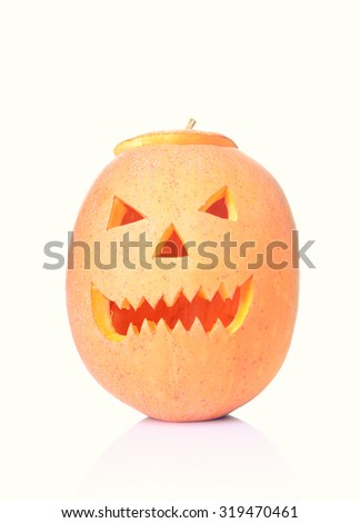 Halloween pumpkin Jack O'Lantern isolated on white background - stock photo