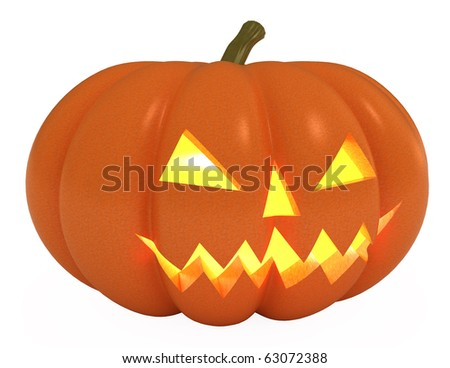 Halloween Pumpkin, Jack O Lantern, with clipping path, 3d illustration, isolated - stock photo