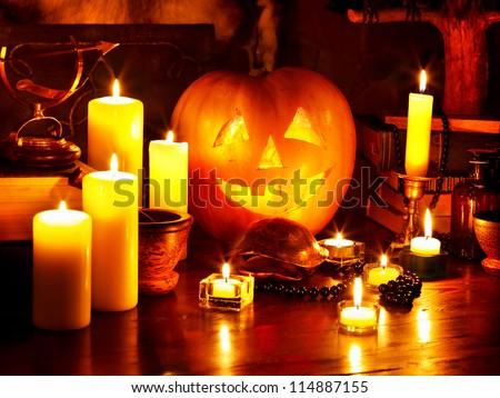 Halloween pumpkin lantern. Decoration. - stock photo