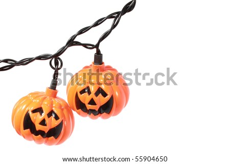 Halloween pumpkin lights with space - stock photo