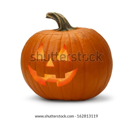 Halloween Pumpkin Lit Isolated on a White Background. - stock photo