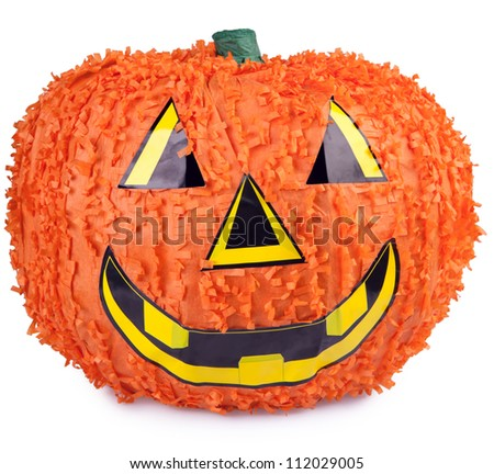 Halloween pumpkin made from paper mache - stock photo