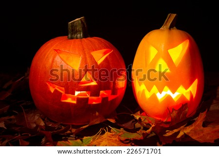 Halloween pumpkin on black backgraund - stock photo