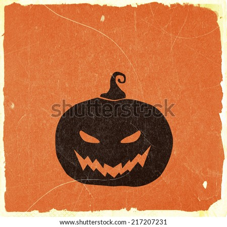 Halloween Pumpkin on Grunge Card Background - stock photo