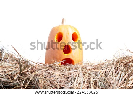 halloween pumpkin on the hay on a white background isolated - stock photo