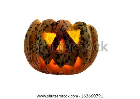 Halloween Pumpkin on white - stock photo
