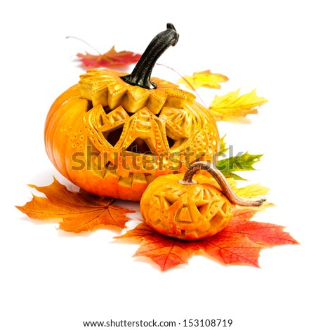 Halloween pumpkin on white background  - stock photo