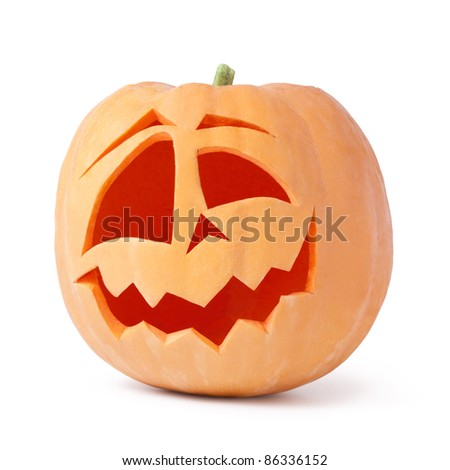 halloween pumpkin on white background - stock photo