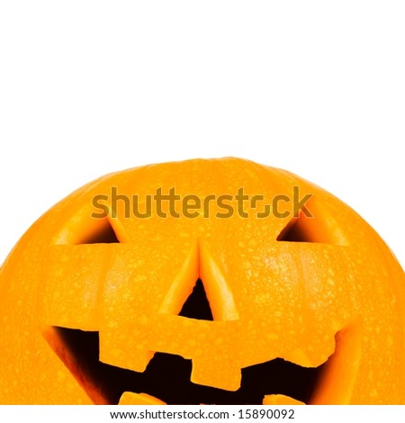 Halloween pumpkin on white with copyspace - stock photo