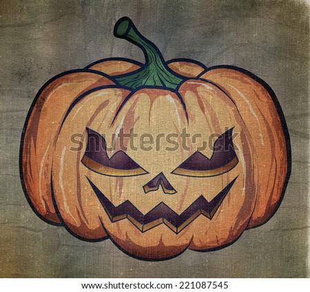 Halloween pumpkin painted on fabric. - stock photo