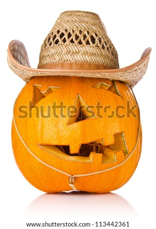 Halloween Pumpkin.Scary Jack O'Lantern in cowboy's cap isolated on white background - stock photo