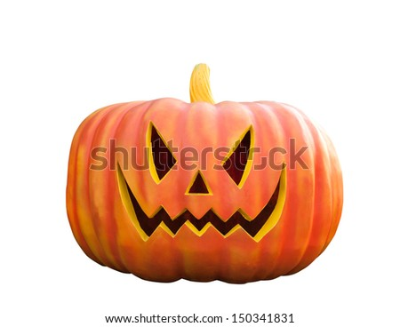 Halloween Pumpkin , Scary Jack O'Lantern, isolated on white background with clipping path - stock photo