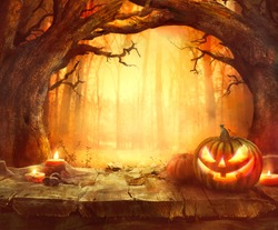 halloween pumpkin scary pumpkin on table halloween background pumpkins in forest