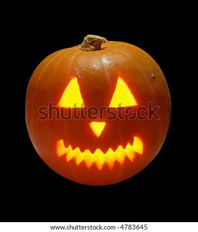 halloween pumpkin shiny from inside - stock photo