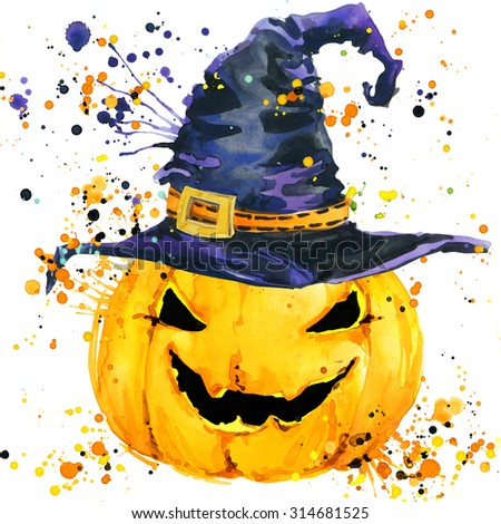 Halloween pumpkin. Watercolor illustration background for the holiday Halloween. watercolor texture Halloween pumpkin - stock photo