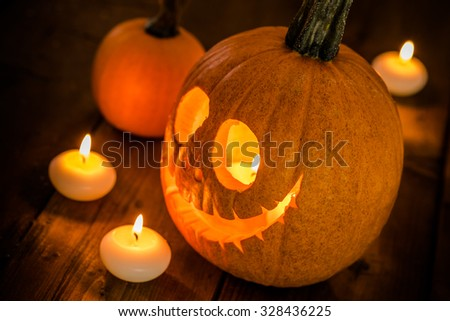 Halloween pumpkin with candles