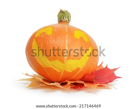 halloween pumpkin with funny face, isolated on white - stock photo