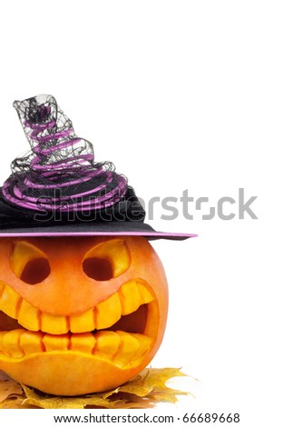 Halloween pumpkin with hat and leaf isolated on white - stock photo