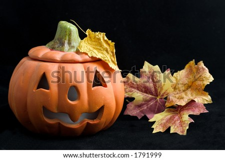 halloween pumpkin with levaes on black - stock photo