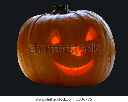 halloween pumpkin with lightning face against black background