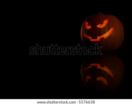 halloween pumpkin with reflection - stock photo