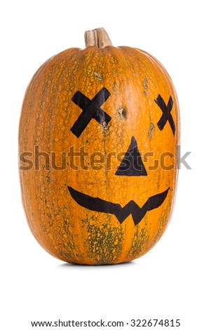 Halloween pumpkin with scary face over white background - stock photo