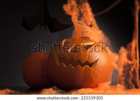 halloween pumpkin with spider net and bat - stock photo