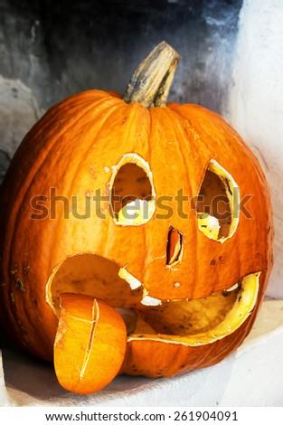halloween pumpkin with tongue - photo - stock photo