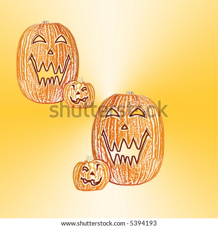 Halloween Pumpkins - A few carved jack o lantern pumpkins isolated with space for copy. - stock photo