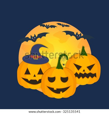Halloween pumpkins and bats - stock photo