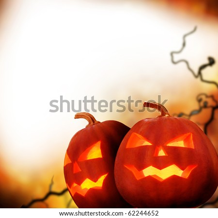Halloween Pumpkins.Border Design - stock photo
